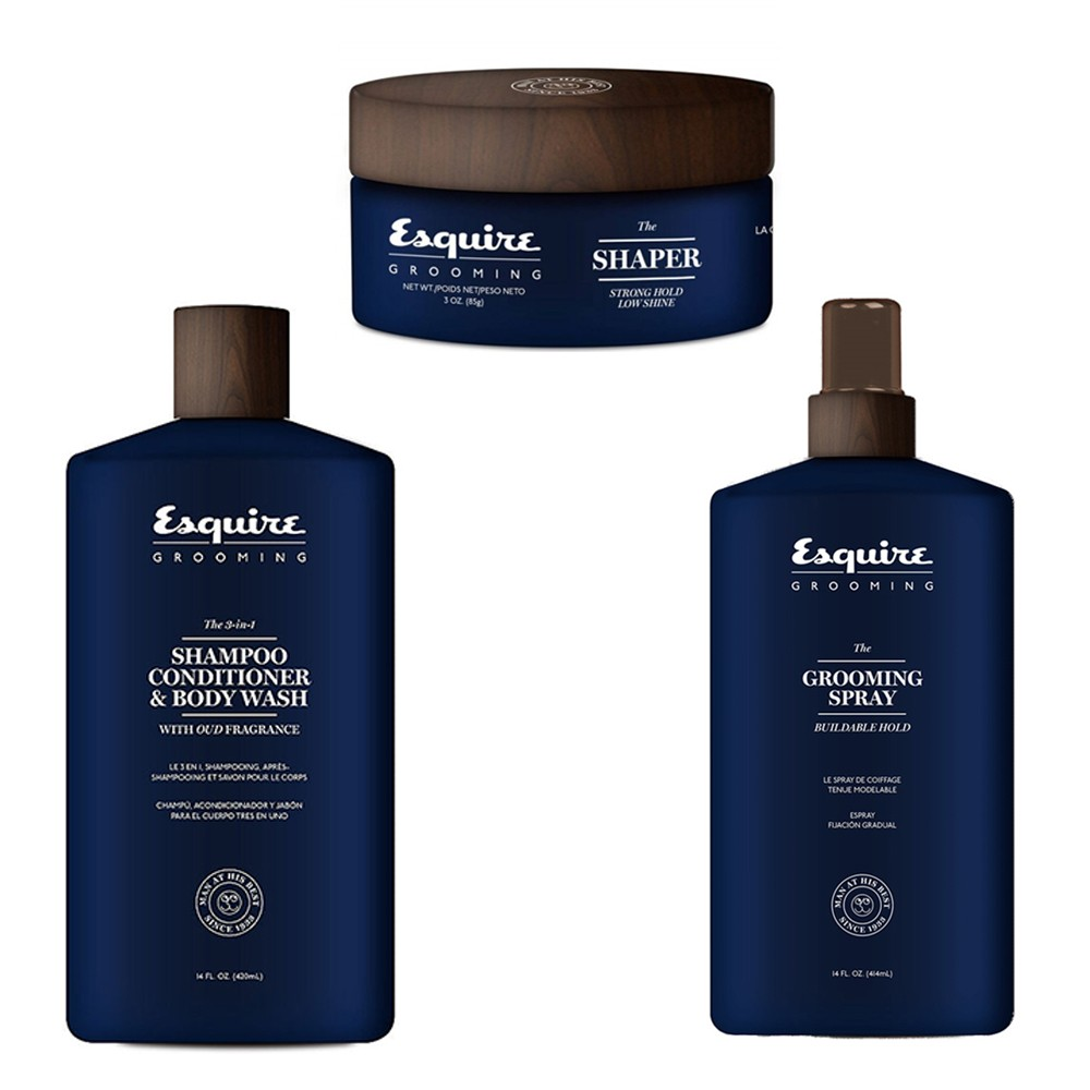 ESQUIRE Kit The 3 in 1 Shampoo 414ml + Grooming Spray 414ml + The Shaper 85g