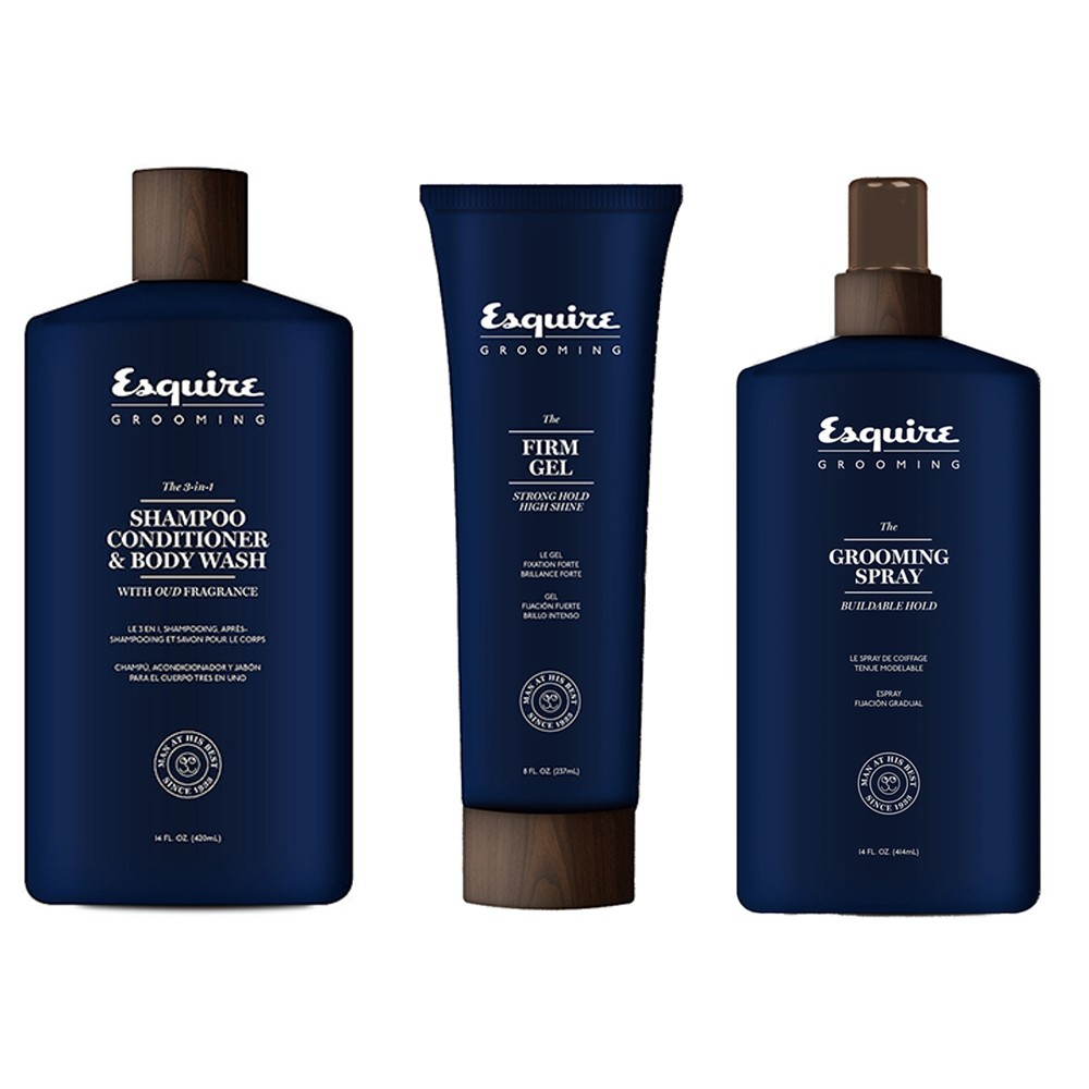 ESQUIRE Kit The 3 in 1 Shampoo 414ml + Grooming Spray 414ml + Firm Gel 237ml